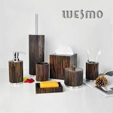 Contemporary Bathroom Accessories Sets - contemporary wood full bathroom accessories set with black color