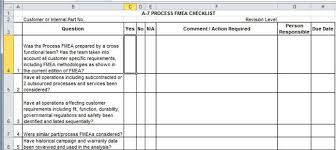 Fmea Template Excel Apqp Checklists In Excel Compatible With Aiag 4th Ed