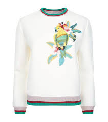latest maje white parrot sweatshirt for women sale