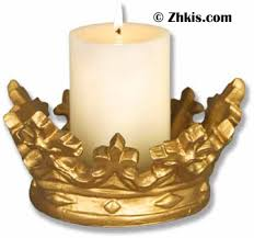 royal crown pillar candle holder geometric form crown and