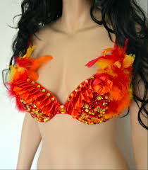 red phoenix fire feather bra cosplay dance costume rave bra rave