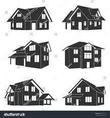 House Silhouette by Set Black White Silhouette Icons Houses Stock Vector 208010173