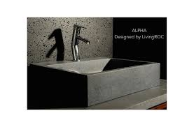 22 gray granite natural stone bathroom sink faucet hole alpha