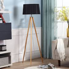 elegant tripod floor lamp with wooden frames also bowl chrome