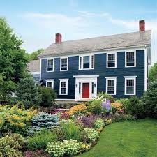 new england colonial blue exterior inspiration for front door