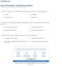quiz u0026 worksheet us national holidays study com