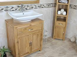 bathroom vanity unit oak modern cabinet wash stand travertine top