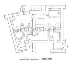 architecture plan black white architectural plan house layout stock vector 592429499