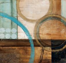 blue and brown circles modern abstract oil painting canvas wall