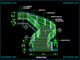stairs main view cad block curve stair for vila drawing free