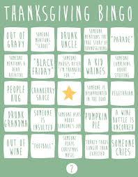 thanksgiving bingo to play at the dinner table
