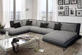 canape angle en u canapé d angle design luberon en pu et tissu coloris noir et gris