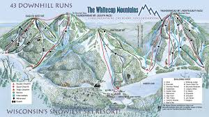 Twin Peaks Map Whitecap Mountains Ski Trail Map Highway 77 Amp County Road E