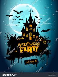 halloween night background picture creepy castle stock vector