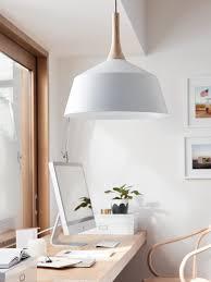 Oversized Pendant Light Lighting White Large Pendant Lamp Workbench Wooden Chairs Plants