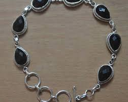sterling silver black onyx bracelet images Silver stone jewelry etsy jpg