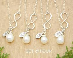 pearl necklace gifts images Personalized bridesmaid gifts set of 4 infinity jpg
