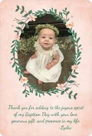 baptism thank you wording chic baptism or christening thank you card scrapbook