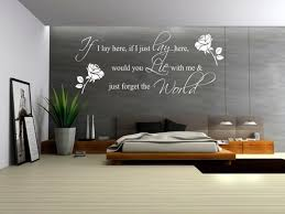 bedrooms grey accent wall color with decorative wall decals
