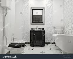 Tile Black And White Marble by Luxurious Bathroom Classic Style Interior Design Stock