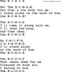 christian childrens song the b i b l e lyrics