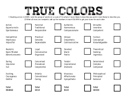 color personality test true colors personality test