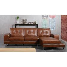 canapé en cuir marron sixty canapé d angle droit fixe en cuir et simili 3 places