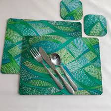 table mats and coasters green placemats coasters green turquoise table mats green