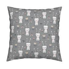 dreamy bunny rabbit on grey tea towels by caja design roostery