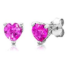 byjoy jewellery byjoy 925 heart shape pink sapphire stud earrings co uk