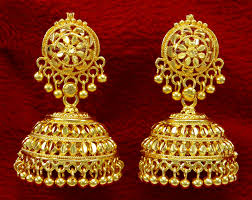 gold jhumka earrings gold plated jhumka earring indian women wedding jewelry