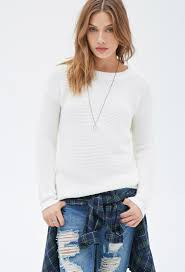 forever 21 waffle knit sweater in white lyst