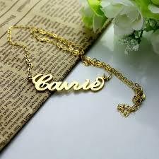 Custom Name Necklace Gold Personalized Carrie Name Necklace Solid Gold