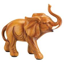 small wooden sculptures gifts decor lucky elephant wood look figurine statue