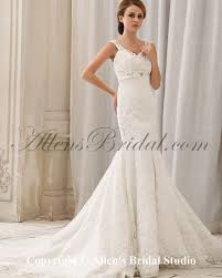 allens bridal satin and lace straps chapel train mermaid wedding