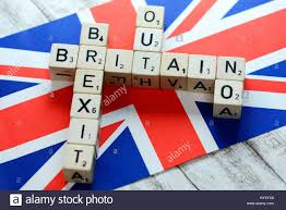 Flag Com Letter Cubes Form The Concepts Britain Brexit Out And No On Flag