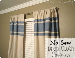 No Curtains Young And Crafty Sisters No Sew Drop Cloth Curtains