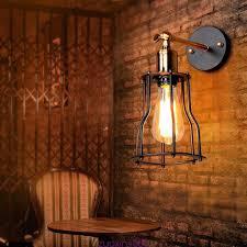 Schlafzimmer Lampe Vintage E27 Retro Wandleuchte Käfig Vintage Wandlampe Deckenleuchte Metall