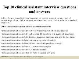 top 10 clinical assistant interview questions and answers