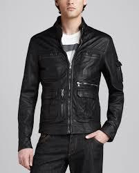black leather motorcycle jacket dolce u0026 gabbana leather motorcycle jacket in black for men lyst