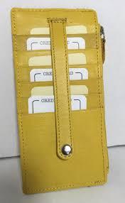 rolfs leather slim organizer wallet card holder yellow zip around