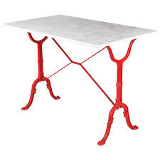 Mid Century Bistro Table Mid Century Marble Top Bistro Table With Red Iron Base By Godin