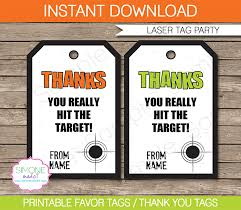 laser tag party favor tags template thank you tags
