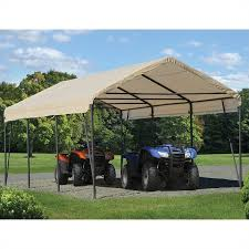 Awnings In A Box Shelterlogic Carport In A Box 12 U0027 X 20 U0027 X 9 U0027 Canopy In Sandstone
