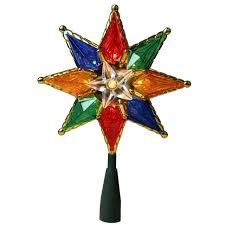 7 75 lighted multi color mosaic tree topper clear