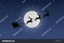 santas sleigh reindeers on background night stock vector 498071299