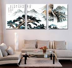 online get cheap chinese wall art aliexpress com alibaba group 3 pieces wall art chinese mountain trees landscape cuadros decoracion paintings on canvas living room home