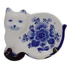 teabag holder delft blue cat cubecart
