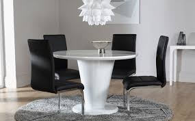 White Gloss Dining Table And Chairs Round Modern White Gloss Dining Table Stylish Trumpet Pedestal