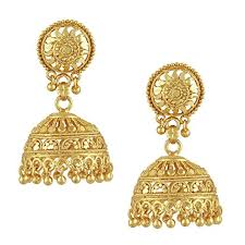 jhumki style earrings in gold bodha 18k gold plated traditional indian jhumka